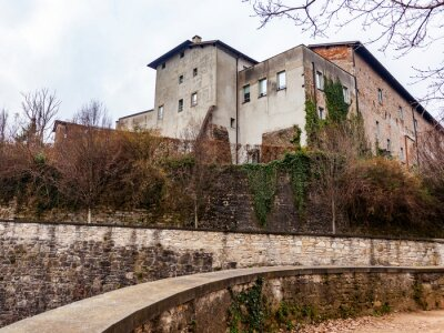 Bergamo, Italy, February 16, 2020. A picturesque fragment of the old city wall in the Upper Town (Citta Alta).