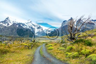Berge Nationalpark-Torres Del Paine und Straßenlandschaft, Patagonia, Chile, Südamerika