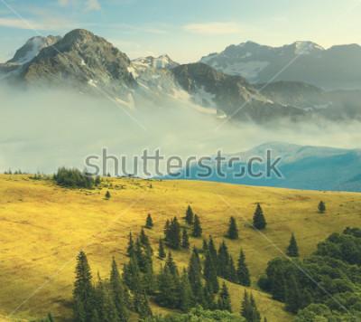 Poster Berglandschaft, felsiger Berg in einem Nebel umgeben Hügel eines Grases