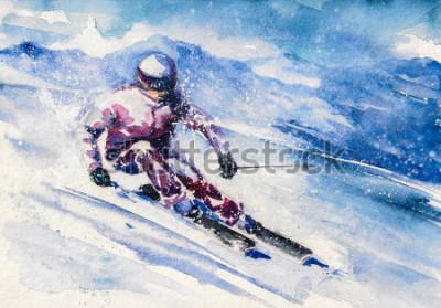 Poster Bergskifahrer rutscht vom Berg. Bild mit Wasserfarben erstellt.