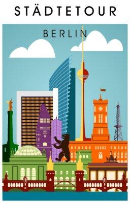 Poster Berlin Poster bunt mit vielen Sehenwürdigkeiten hochkant Silhouette Panorama