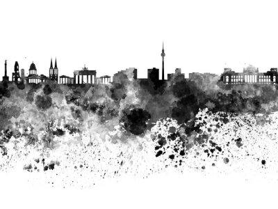 Poster Berlin Skyline in schwarzem Aquarell