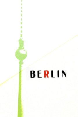 Poster Berlin Vintage Postkarte - Fernsehturm und Buchstaben auf abstrakte backg