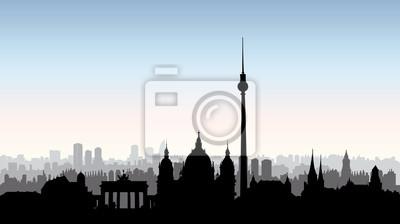 Berliner Stadtgebäude Silhouette. Deutsche stadtlandschaft Berliner Skyline
