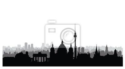 Berliner Stadtschattenbild. Deutsche stadtlandschaft Berliner Stadtbild mit berühmten Wahrzeichen und Gebäuden. Reise Deutschland Hintergrund