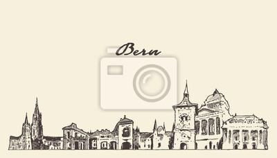 Bern skyline Switzerland hand drawn vector sketch