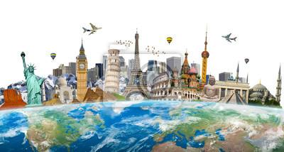 Poster Berühmte Wahrzeichen der Welt gruppiert auf dem Planeten Erde