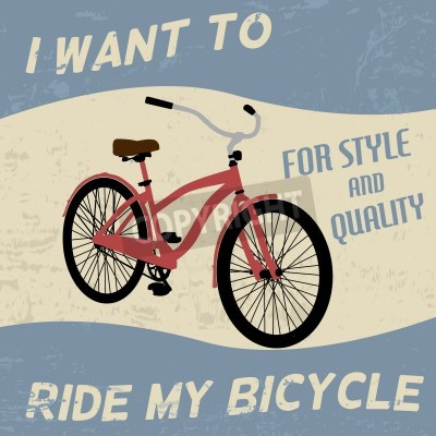 Poster Bicycle Vintage Grunge Plakat, Vektor-Illustration