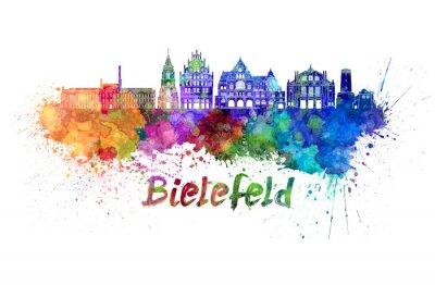 Bielefeld skyline in watercolor