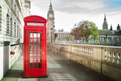Poster Big ben and red phone cabine in London