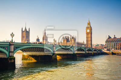 Big Ben and westminster bridge in London at autumn