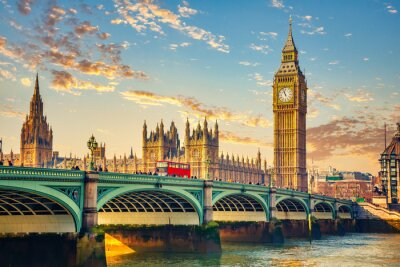 Big Ben and westminster bridge in London at sunrise