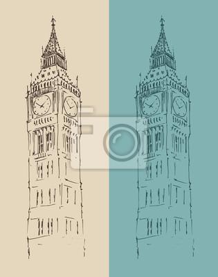 Big Ben London Vintage Illustration, graviert Stil