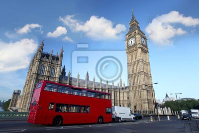 Big Ben mit Doppeldecker, London, Uk