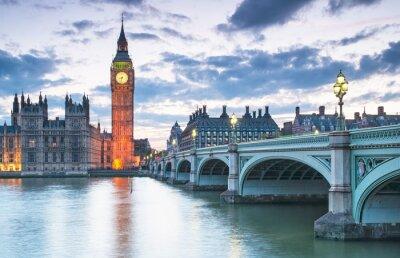 Poster Big Ben und die Houses of Parliament in der Nacht in London, UK