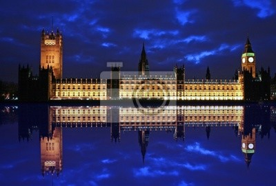 Poster Big Ben und Schlauchparlaments Reflexion