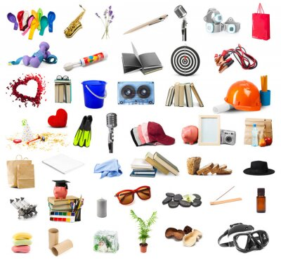 Poster big collection of different objects isolated on white background