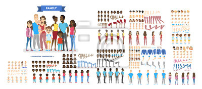Poster Big family character set for the animation
