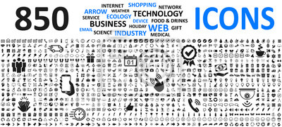 Poster Big set icons: business, shopping, device, technology, medical, ecology, food & drink and many more for any cases of life using – stock vector