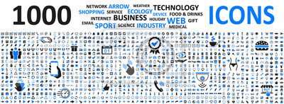 Poster Big set icons: business, shopping, device, technology, medical, ecology, food & drink and many more for any cases of life using – vector