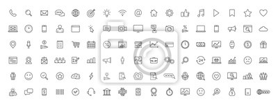 Poster Big set of 100 Business and Finance web icons in line style. Money, bank, contact, office, payment, strategy, accounting, infographic. Icon collection. Vector illustration.