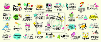 Poster Big set of Summer labels, logos, hand drawn tags and elements for summer holiday, travel, beach vacation, sun. Vector illustration.