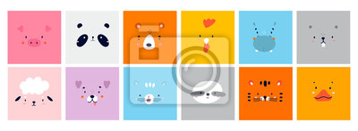 Poster Big Set of Various Cute Animal faces without outline. Funny cartoon Muzzles. Colorful Hand drawn Vector square illustrations. All elements are isolated