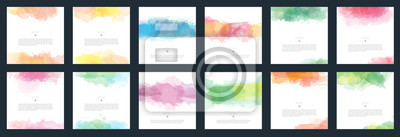 Poster Big set of vector light colorful watercolor background for poster, brochure or flyer