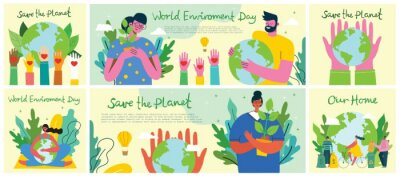 Poster Big set of world environment day posters with people holding earth globe. Protect environment green eco concept. Green and peaceful illustration in modern flat style.