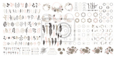 Poster Big set with wreath, design elements, frames, calligraphic. Vector floral illustration with branches, berries, feathers and leaves. Nature frame on white background.