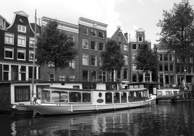 Black and white view of Amsterdam city