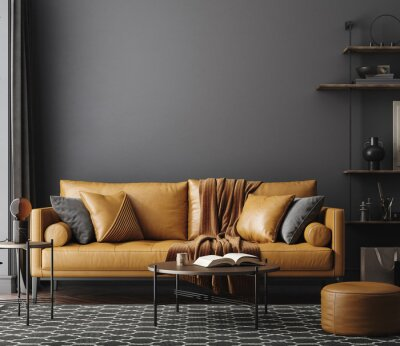 Poster Black living room interior with leather sofa, minimalist industrial style, 3d render