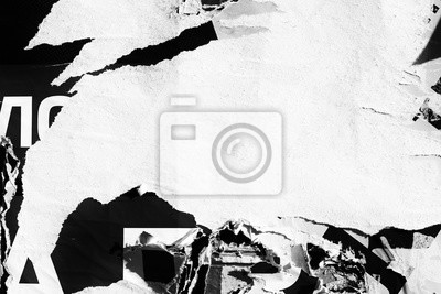 Poster Blank white creased crumpled paper texture background old grunge ripped torn vintage collage posters placards empty space text