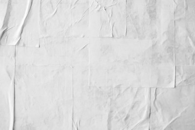 Poster Blank white crumpled and creased paper poster texture
