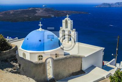 Blau famouse Kuppel der Kirche auf Firostefani auf der Insel Santorini in