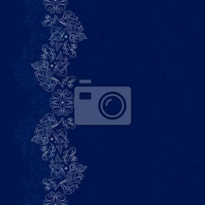 Blau Silber floral Jahrgang nahtlose Muster