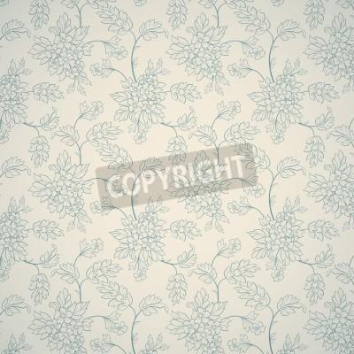 Poster Blaue Blumenverzierung auf hellem Hintergrund