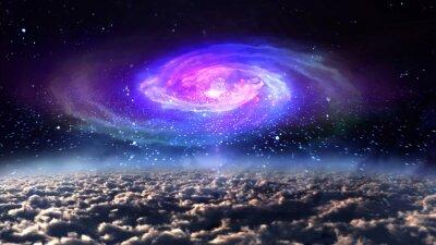 Poster Blaue Galaxie in der Nacht in den Raum.