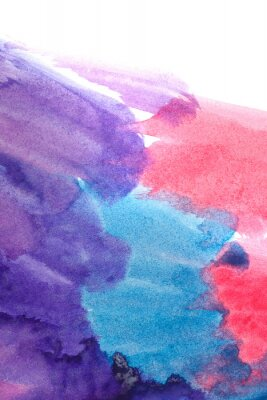 Poster Blaue, lila, rote abstrakte Aquarelle.