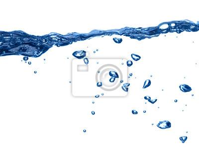 Poster blaue Wasserwelle flüssige Spritzer Blase trinken