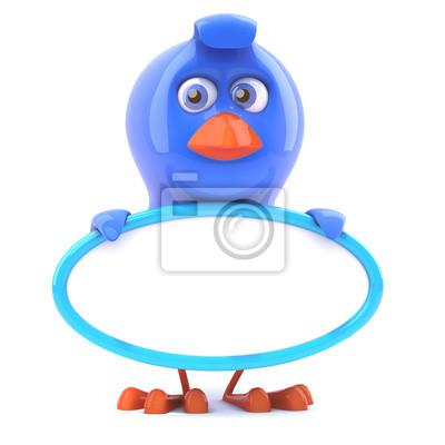 Blauer vogel hält eine leere zeichen wandposter • poster Baby Vogel ...