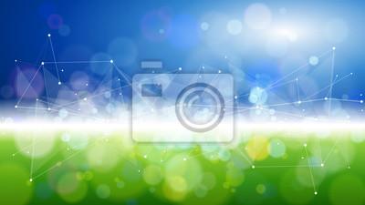 Poster blaugrünes Bokeh - Umweltökologiekonzept - abstraktes Bild von Gras und Himmel, verbunden durch eine weiße digitale Welle, die aus Punkten und Linien erzeugt wird - als Bild von Innovation, moderner T
