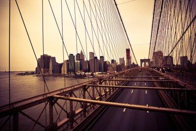 Poster Blick auf den Financial District von der Brooklyn Bridge