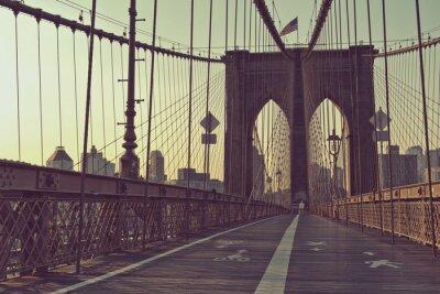Poster Blick auf den Fußgängerweg, Brooklyn Bridge