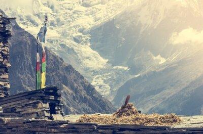 Poster Blick auf die Berge, Annapurnas in Nepal.