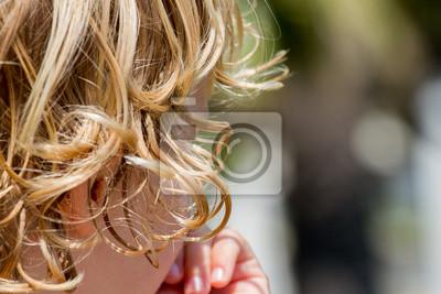 Blonde Locken Haare Wandposter Poster Haarschnitt Friseur