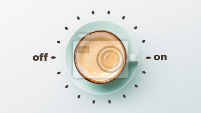 Poster Blue cup with cappuccino over grey background
