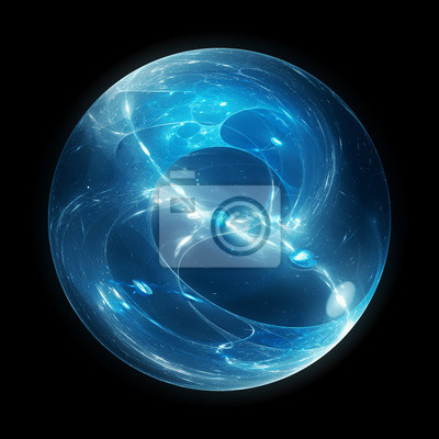 Poster Blue glowing multidimensional energy sphere isolated on black
