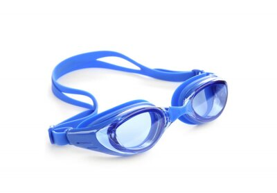 Poster Blue swim goggles isolated on white. Beach object