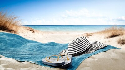Poster blue towel with hat and summer beach